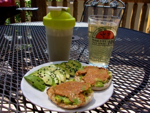 Post-race breakfast: protein shake, nuun, avocado, and an english muffin with avocado spread and muhammara. So delicious!